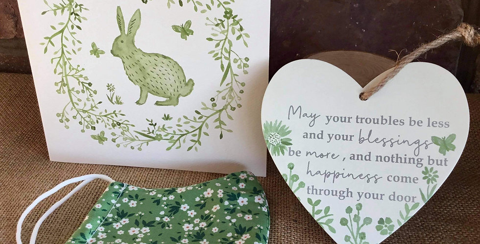 Sage Hare Card, Green Floral Mask and Sage Heart ....May your troubles be less