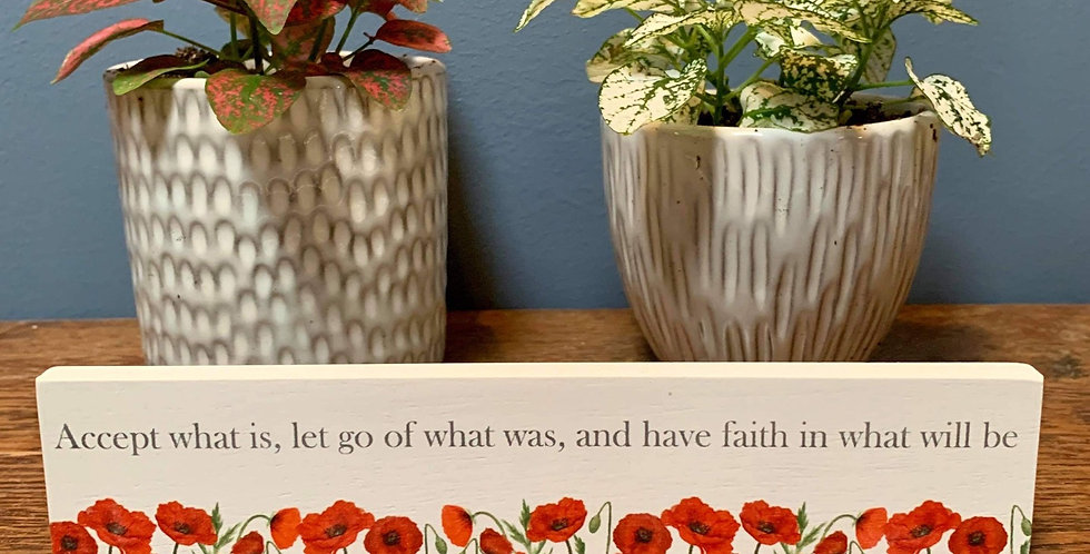 Poppy standing plaque - 'Accept what is, let go of what was...'