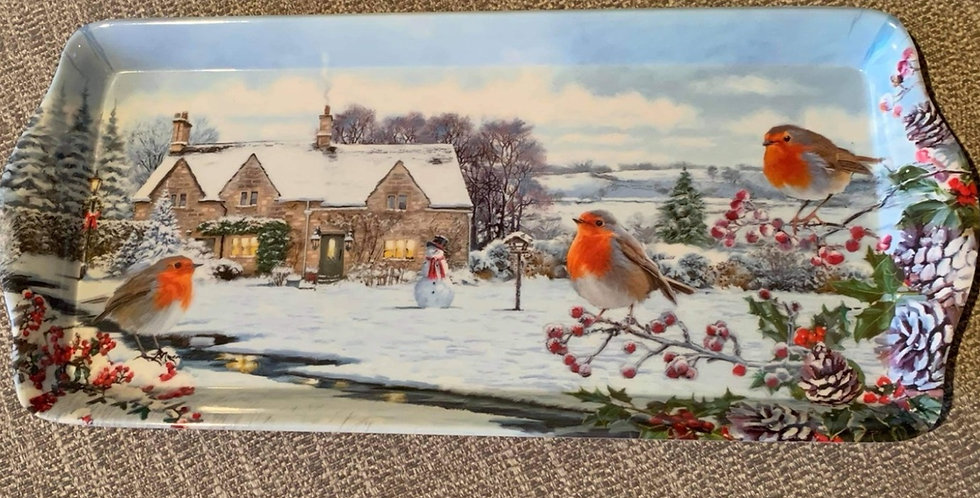 Robin Winter Scene Sandwich Tray