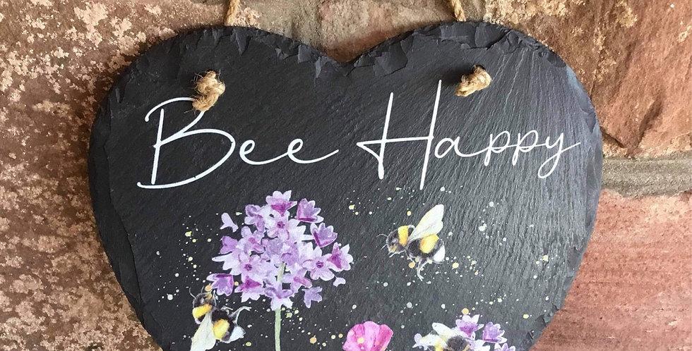 Slate Hanging Bee Heart