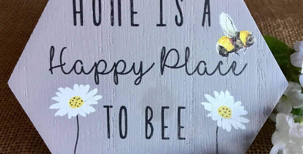 Rustic Honeycomb MIni Plaque - Home is a Happy Place to Bee