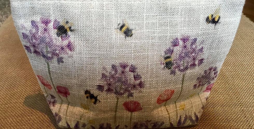 Linen Bee Cosmetic Bag or Pencil Case