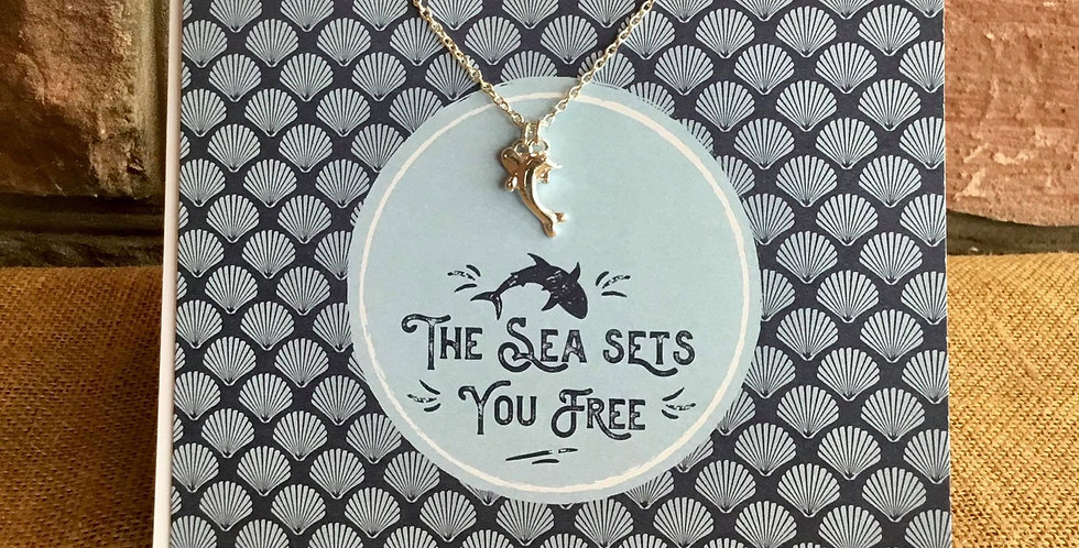 "Silver Plated 16"" Chain and Dolphin Charm Greetings Card"