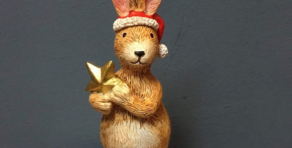 Standing Ceramic Christmas Bunny with Gold Star