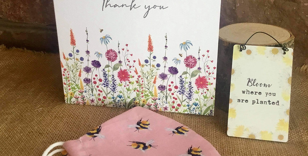 Pink Bee Mask, Mini Bloom Sign  and Thank You Card