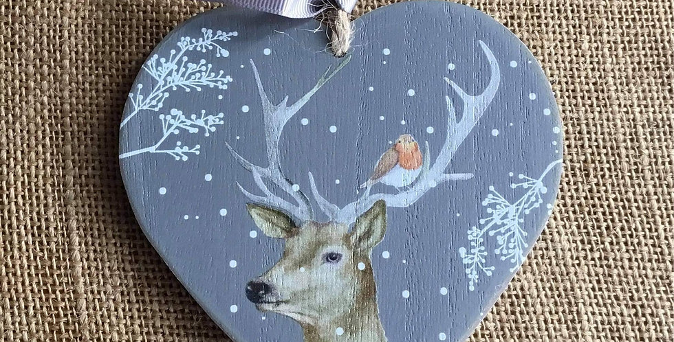 Stag Heart plaque with Robin in his Antler