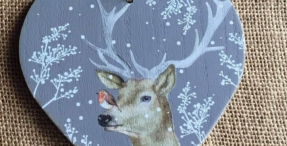 Stag Heart plaque with Robin on his nose