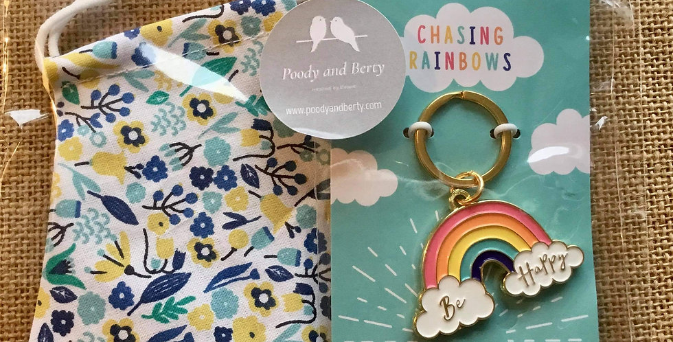 Turquoise Floral Face Mask and Rainbow Keyring  gift
