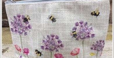Pretty Bee Linen Cosmetic Bag