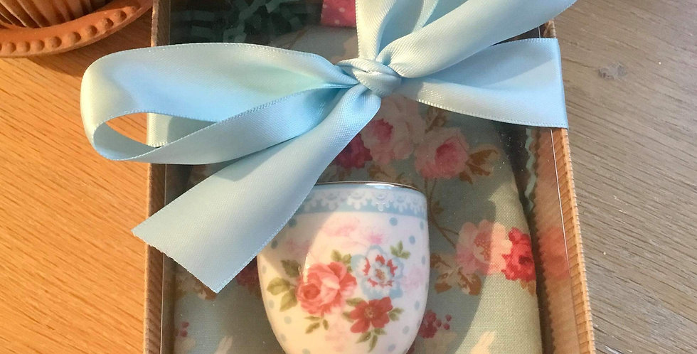 Pretty Blue Floral Egg Cosy and Egg Cup
