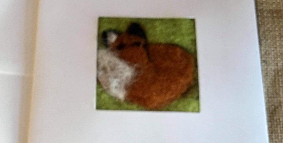 Needle felt card - Sleeping Fox