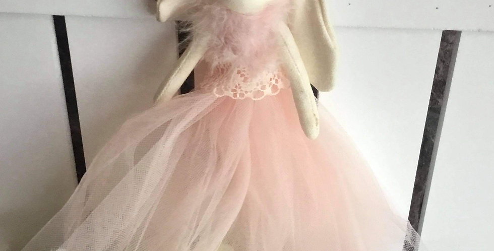 Hanging Lop Eared Bunny in Pink Tulle Dress