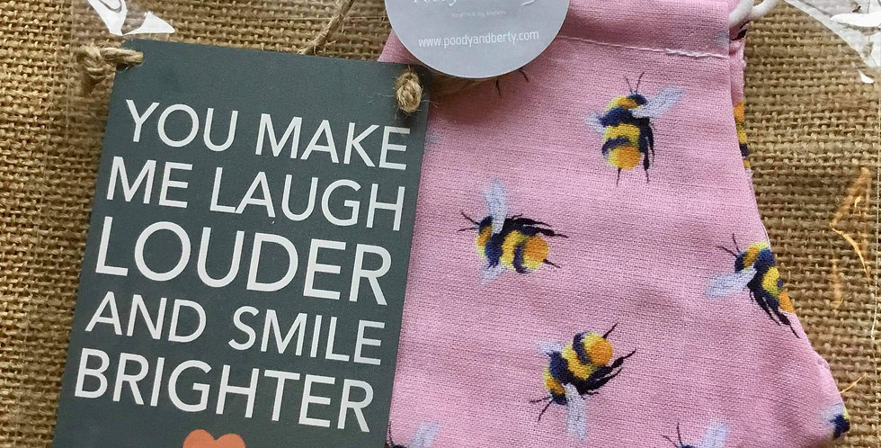 Pink Bee Face Mask and mini sign gift se