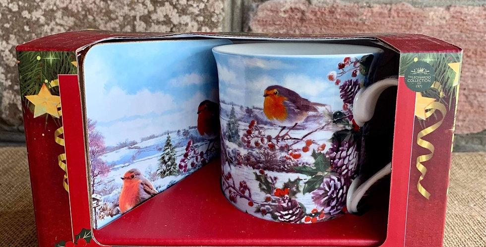 Festive Robin Mug and Coaster