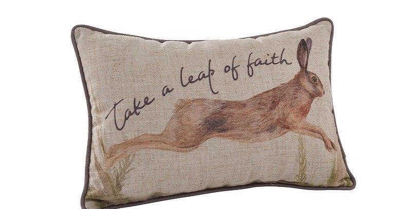 Small Hare Cushion. 'Take a leap of faith'