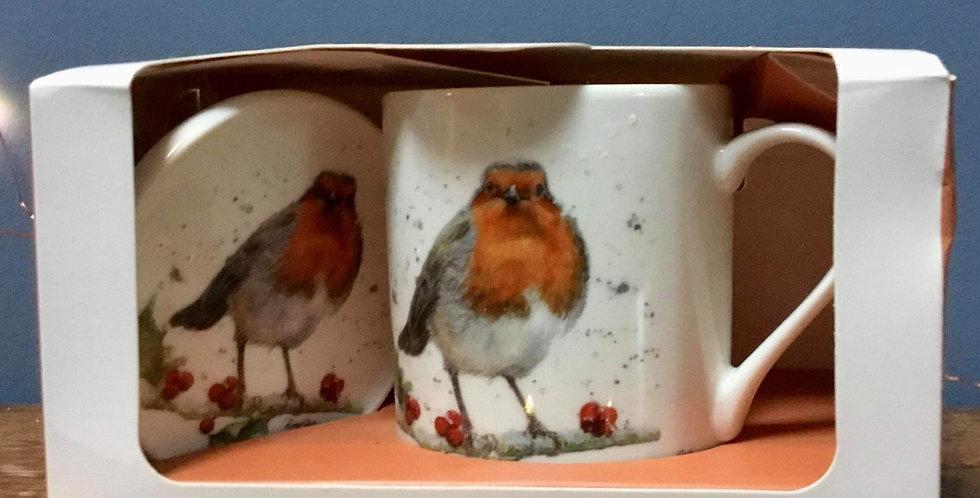 Christmas Robin Mug and Coaster  Set