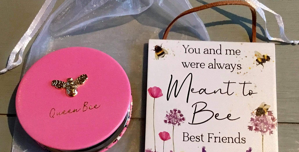 Pink Bee Compact and plaque (a)