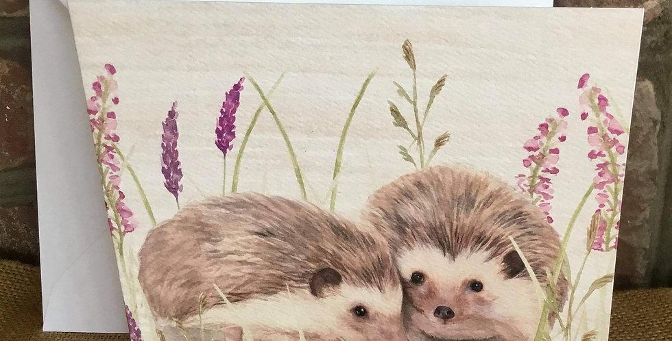 Happy Hedgehogs Greetings Card