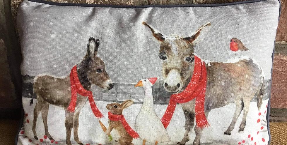 Donkeys and friends Cushion 40x25cms
