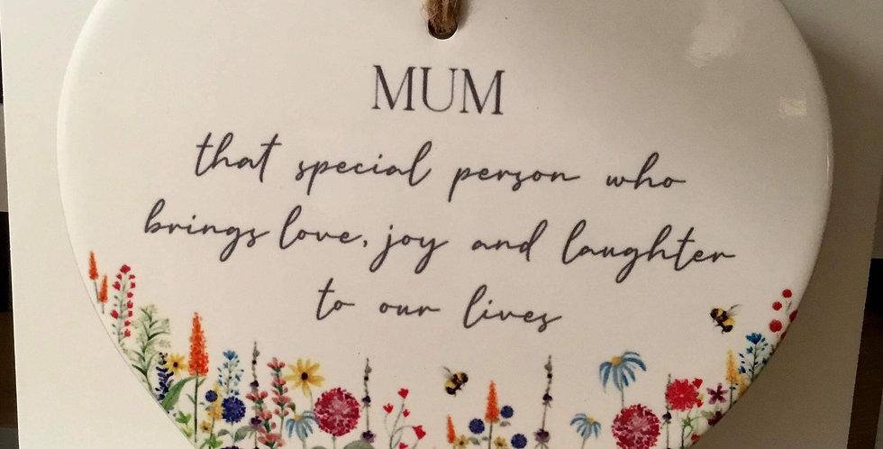 Ceramic Family Flower Heart for a Mum