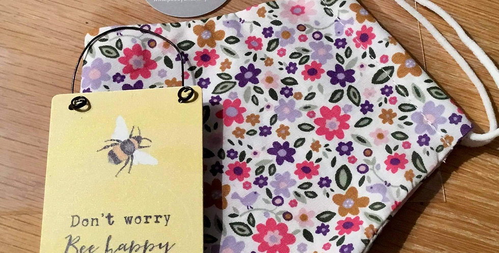 Mauve Floral Face Mask and mini sign gift set