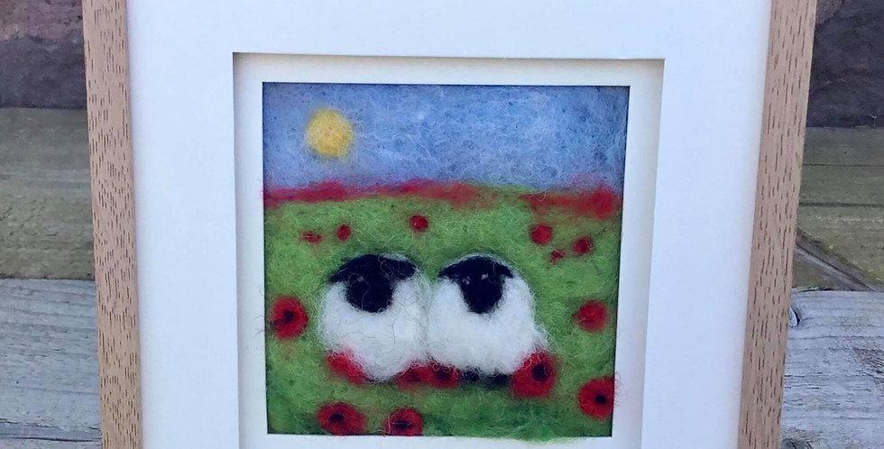 'Sheep in Poppies' Needle Felt Art in an Oak Style Frame