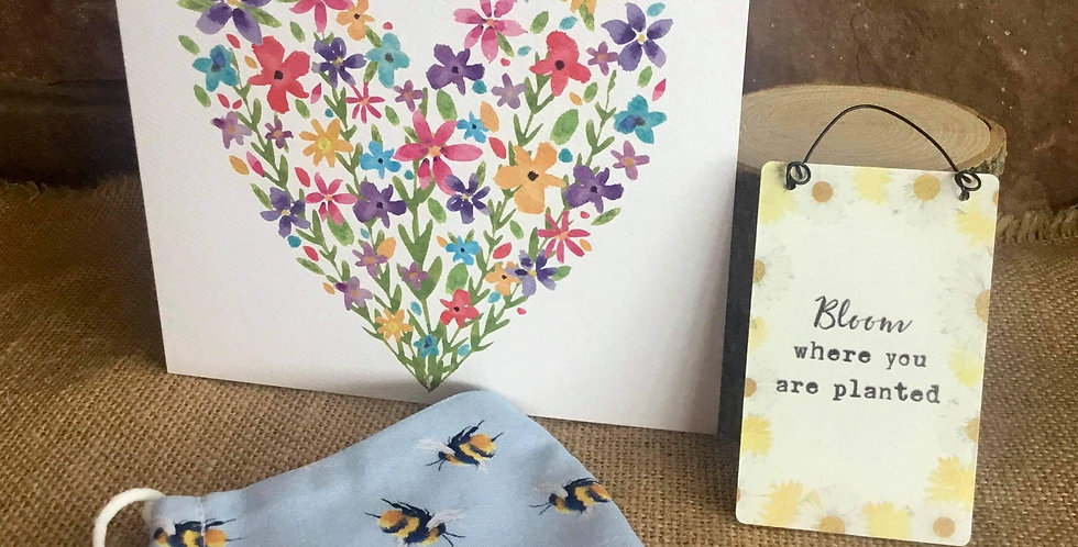 Blue Bee Mask, Mini Bloom Sign  and Birthday Card