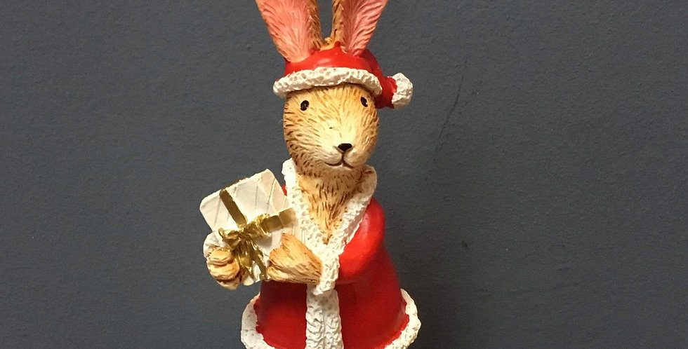 Standing Ceramic Christmas Bunny with Present