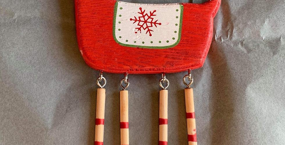 Red Wooden Skandi Reindeer Decoration