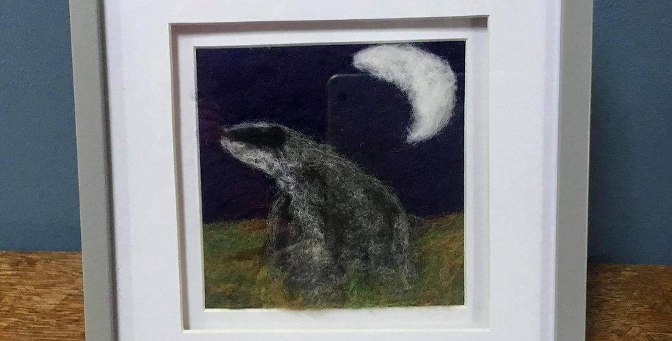 'Badger in Moonlight' Needle Felt Art