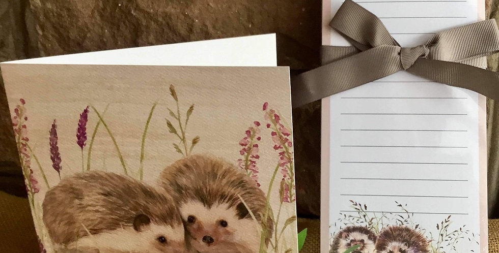 Hedgehogs Magnetic Notepad and Card