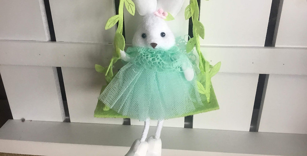 Swinging Bunny in Mint Tulle