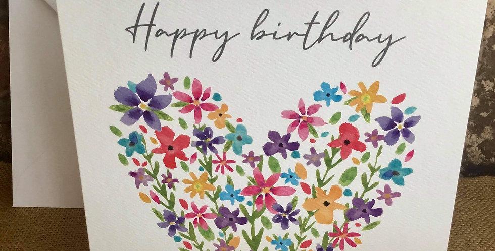 Floral Heart Birthday Card