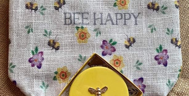 Pretty Bee Linen Cosmetic Bag and Compact Mirror