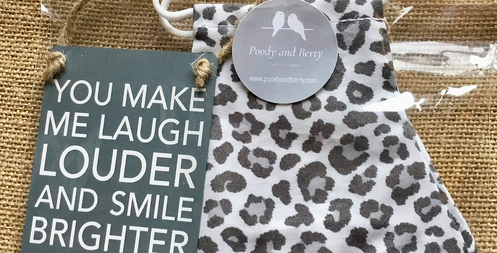 Snow Leopard Face Mask and mini sign gift se
