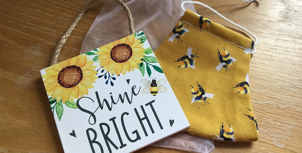 Mustard Bee Face Mask and Sunflower sign gift set