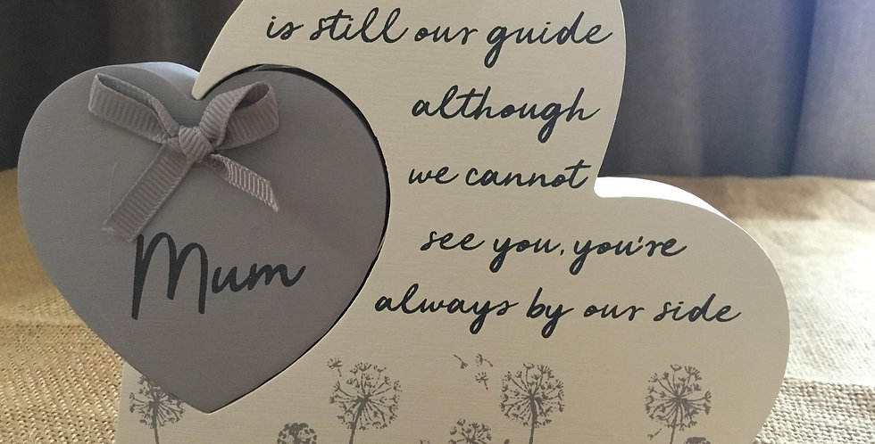 Remembrance Double Heart Plaque - Mum. Your love still guides me....