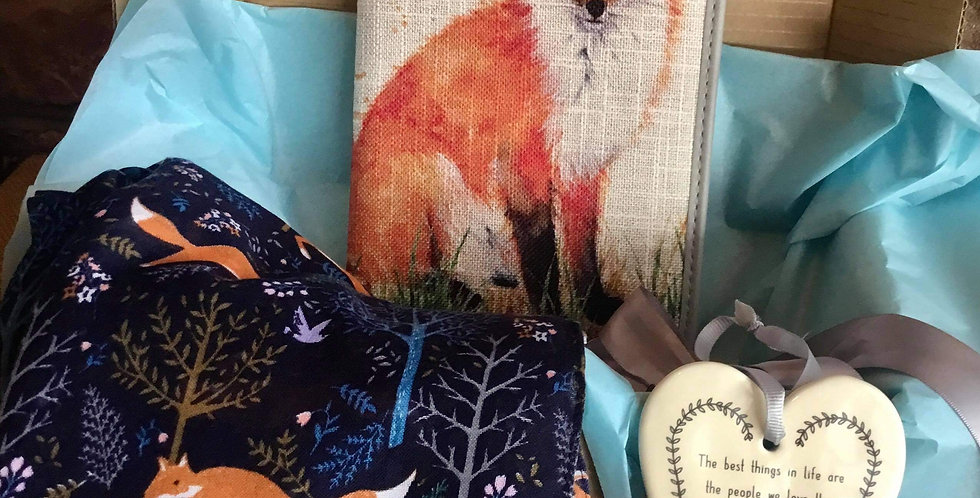 Fox Gift Set with Notebook, Scarf and Heart