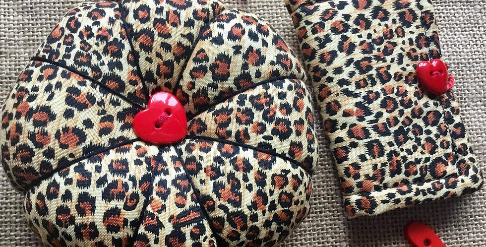 Leopard Print Pin Cushion and Needle Case