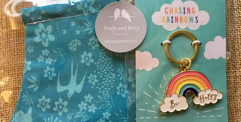 Turquoise Swallows  Face Mask and Rainbow Keyring  gift