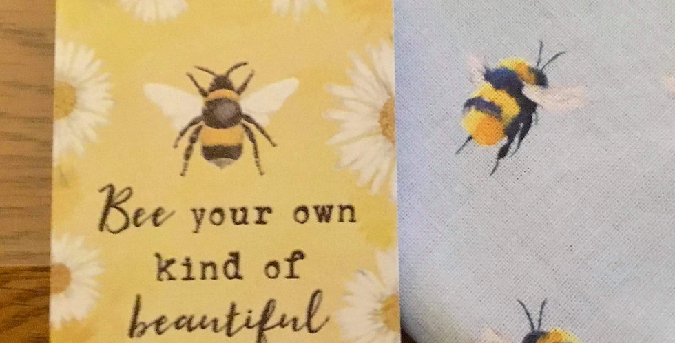 Pastel Blue Bee Face Mask and mini sign gift set