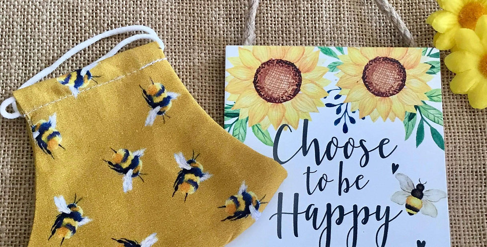 Mustard Bees Face Mask and mini Happy sign gift