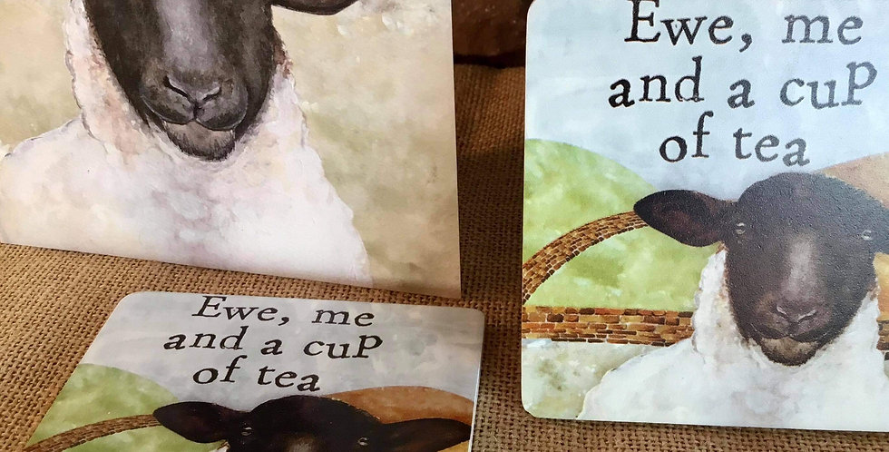 Sheep Card and a pair of Ewe me and a cup of tea Sheep Coaster