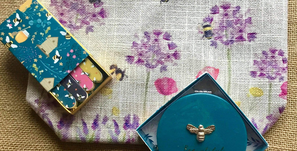 Bees Linen Cosmetic Bag and Teal Compact Mirror and Matchbox Nailfiles