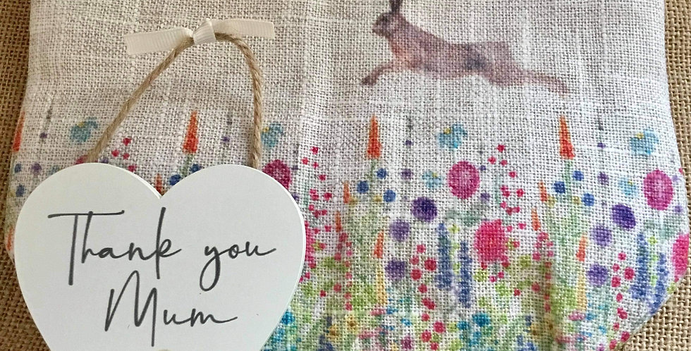 Leaping Hare Linen Cosmetic Bag and Thank You Mum Sign