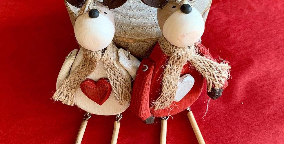 Wooden Dangly Reindeer (pair)