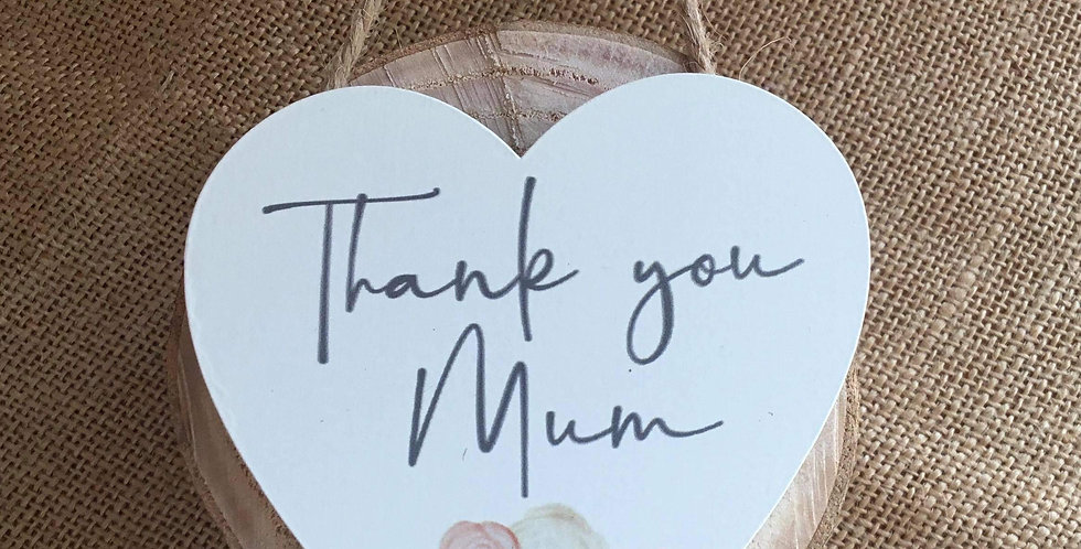 Thank You Mum Wooden Mini Heart Hanger