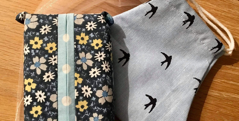 Blue Swallows Face Mask and Handy Hanky Pouch