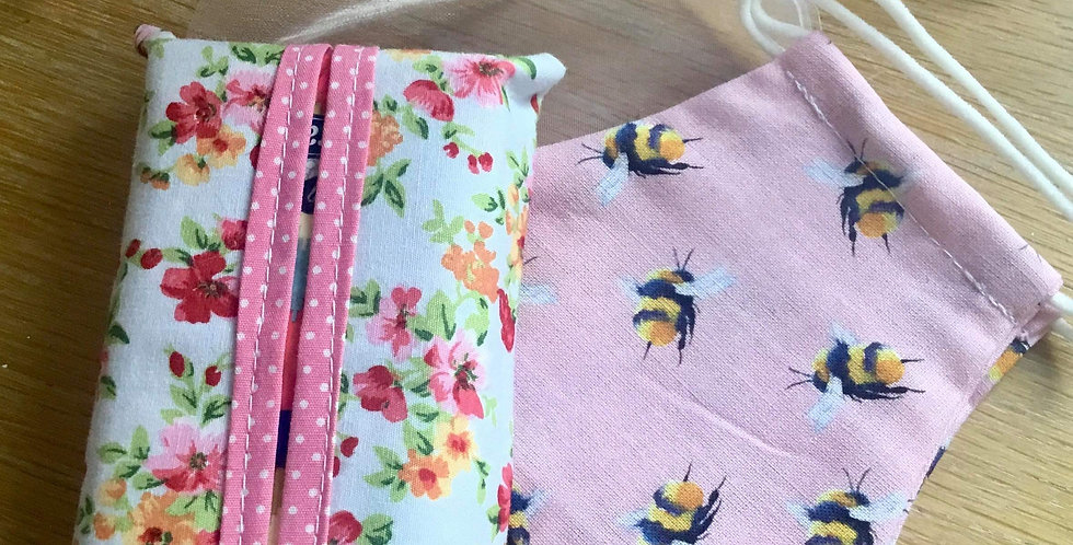 Pink Bee Face Mask and Handy Hanky Pouch