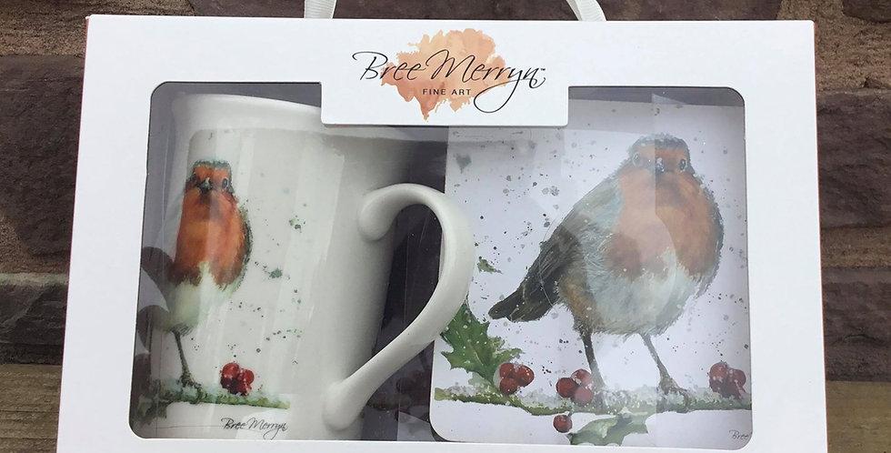 Christmas Robin Mug, Tray and Coaster  Set